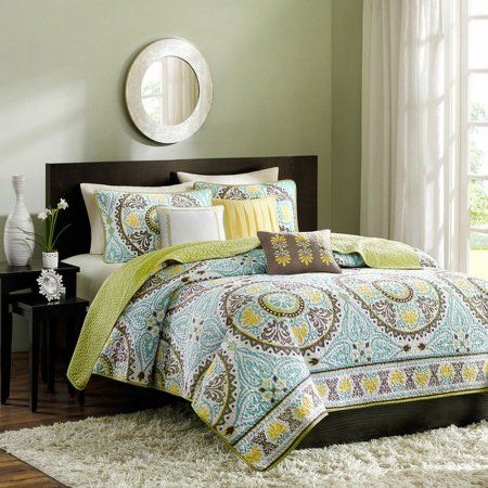 Madison Park Bali Medallion King Bed Quilted Coverlet & Shams Set + Pillows