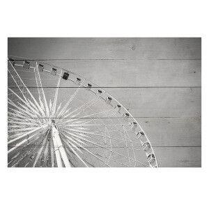 """Panneau en bois """"Big Wheels"""" gris et blanc  60 x 2 x 40 cm"""