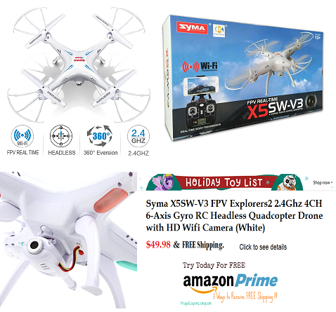 Syma X5sw V3 Fpv Explorers2 2 4ghz Quadcopter Drone With Hd Wifi Camera White Wifi Camera Quadcopter Free Amazon Products