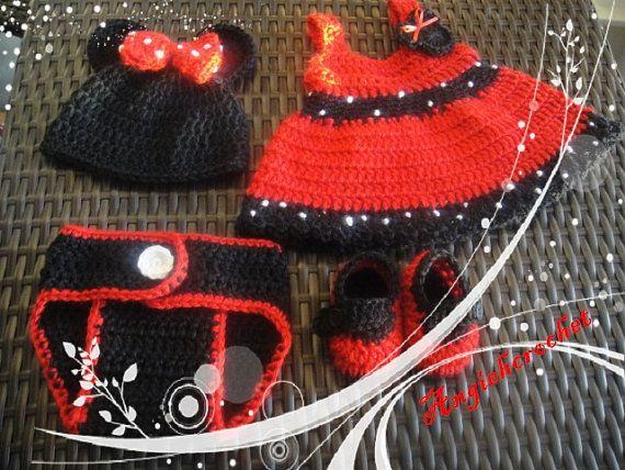 Minnie Mouse Dress set  hat jumper diaper cover crochet