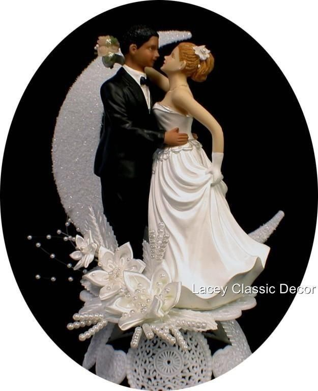 Bi Racial White Caucasion Bride Black African American Groom Wedding Cake Topper
