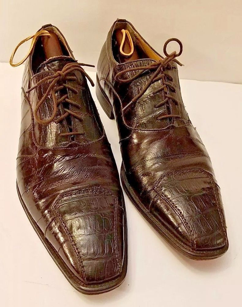 low cost most fashionable full range of specifications David Eden Mens Shoes Size 13 46 Brown Genuine Crocodile Eel ...