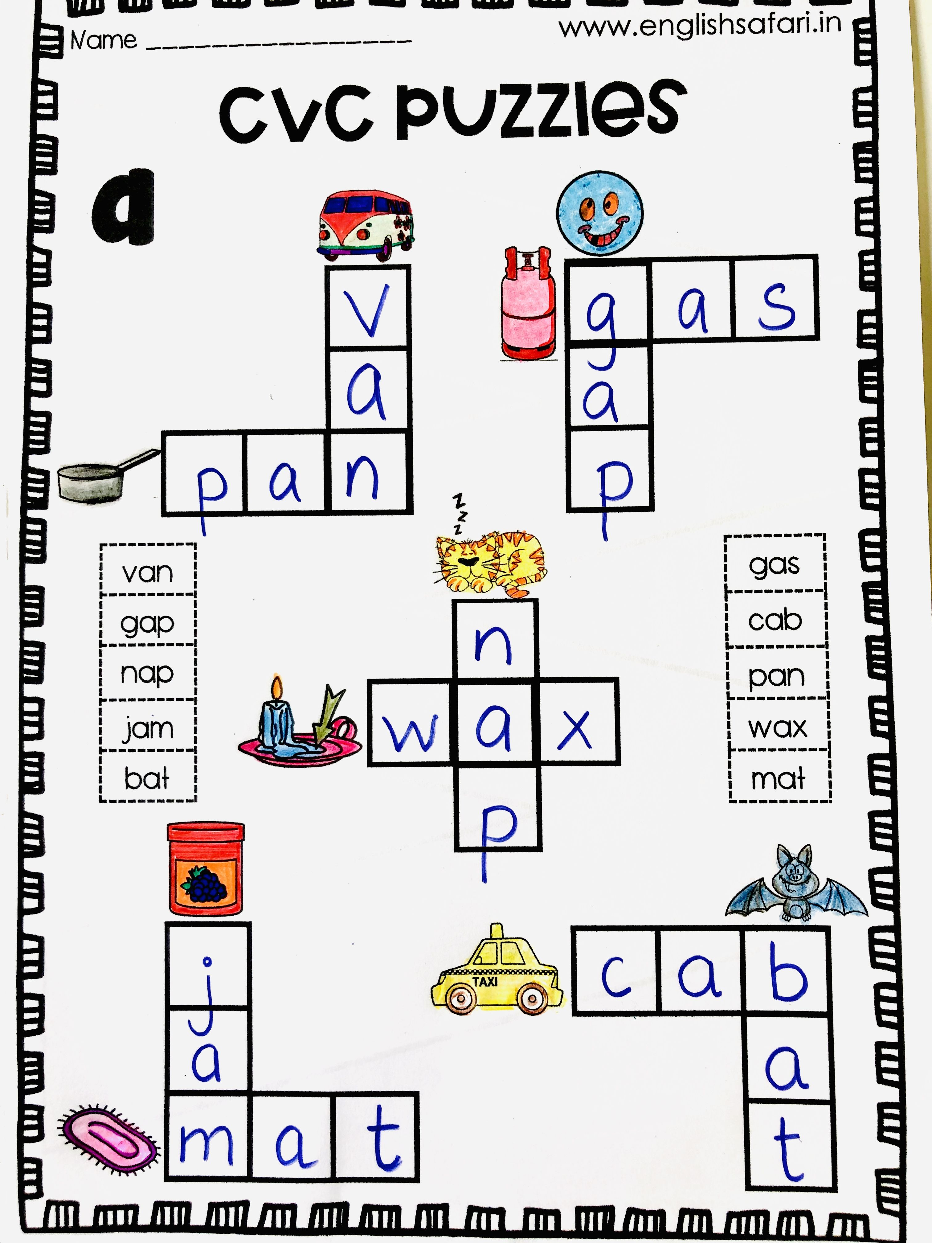 Cvc Puzzle Worksheet Free In