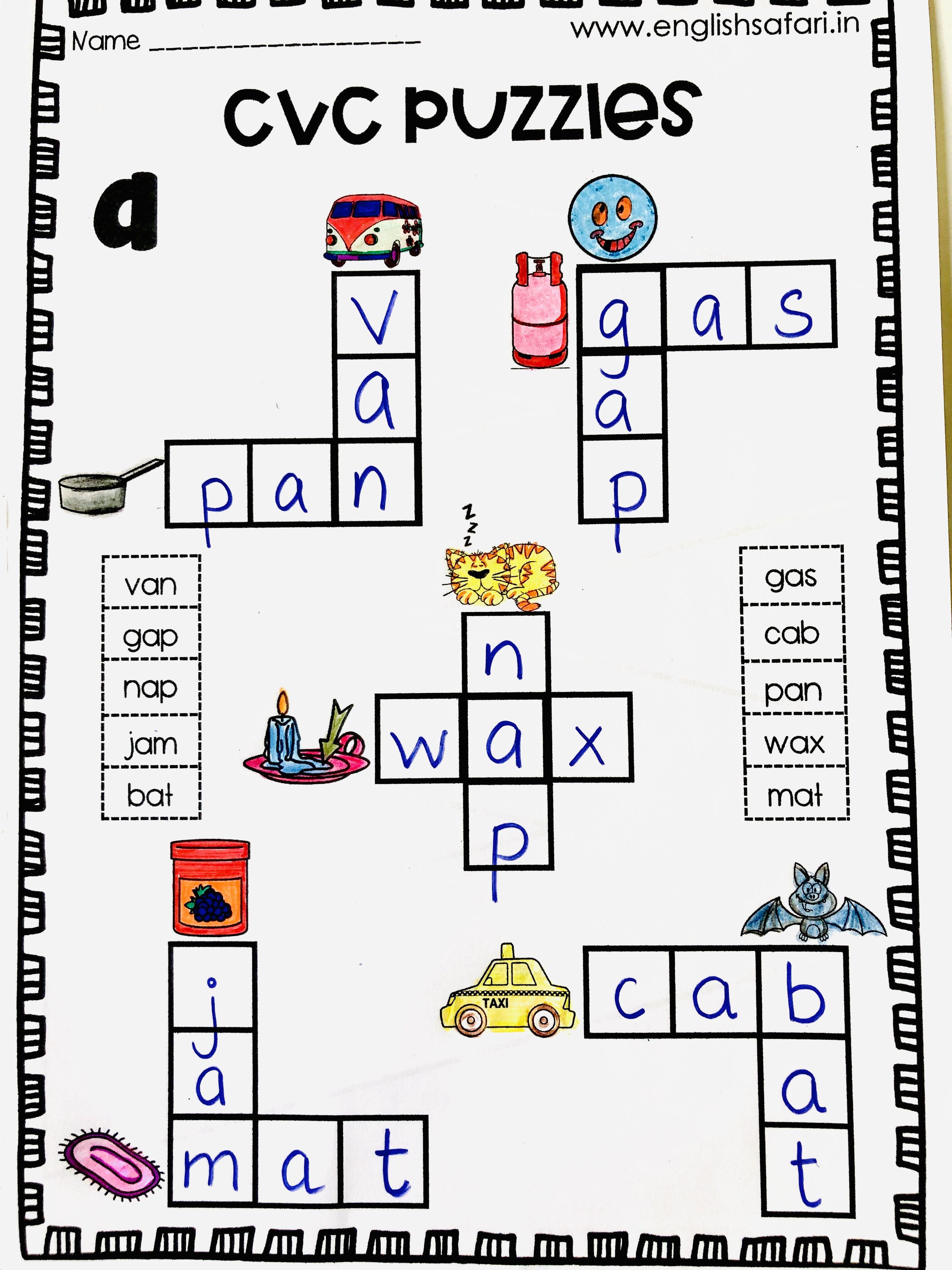 Free Cvc Words A Puzzles Www Englishsafari In In 2020 Cvc Words Three Letter Words Cvc