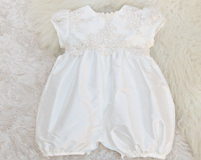 c56e199fb0d0 Girls Christening Romper - Girls Baptism Outfit - Girls Christening Outfit  - Girls Christening Jumpsuit - Chloe Silk Romper
