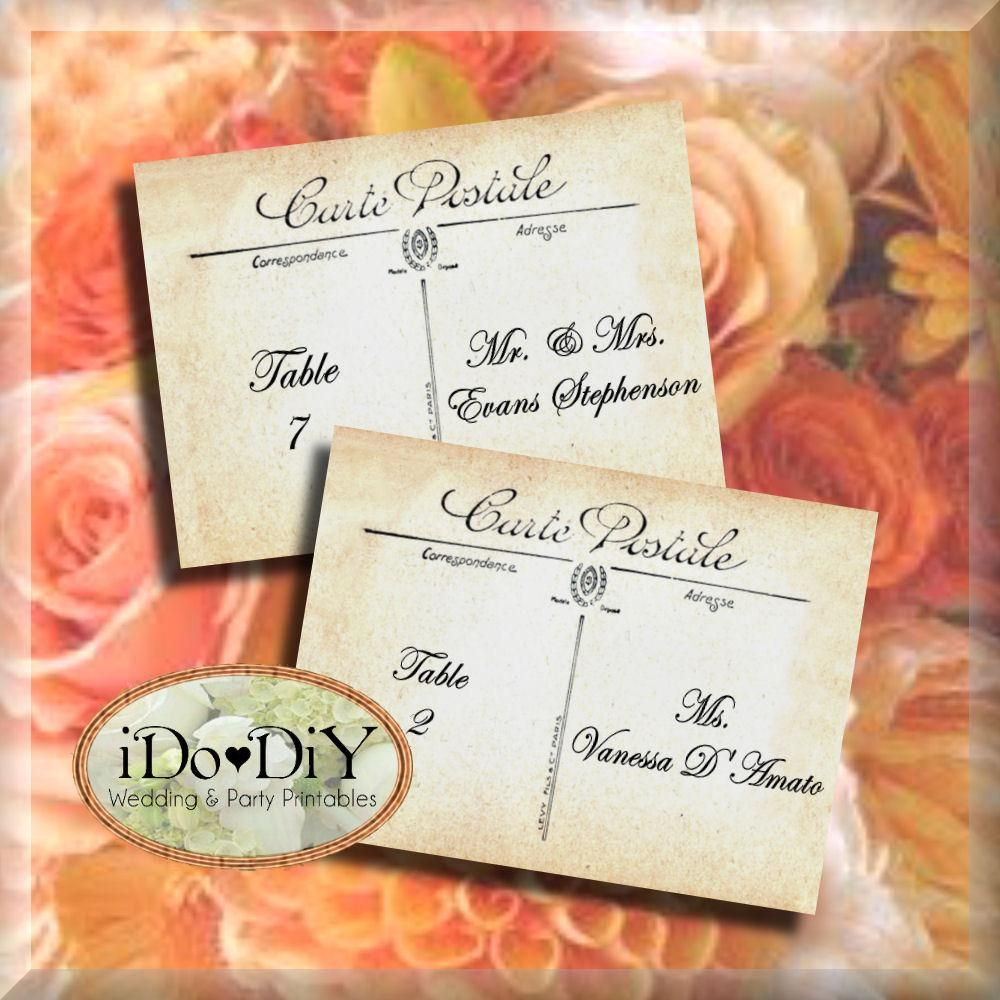 Vintage French Postcard Printable Place Card Template Flat or Tented ...