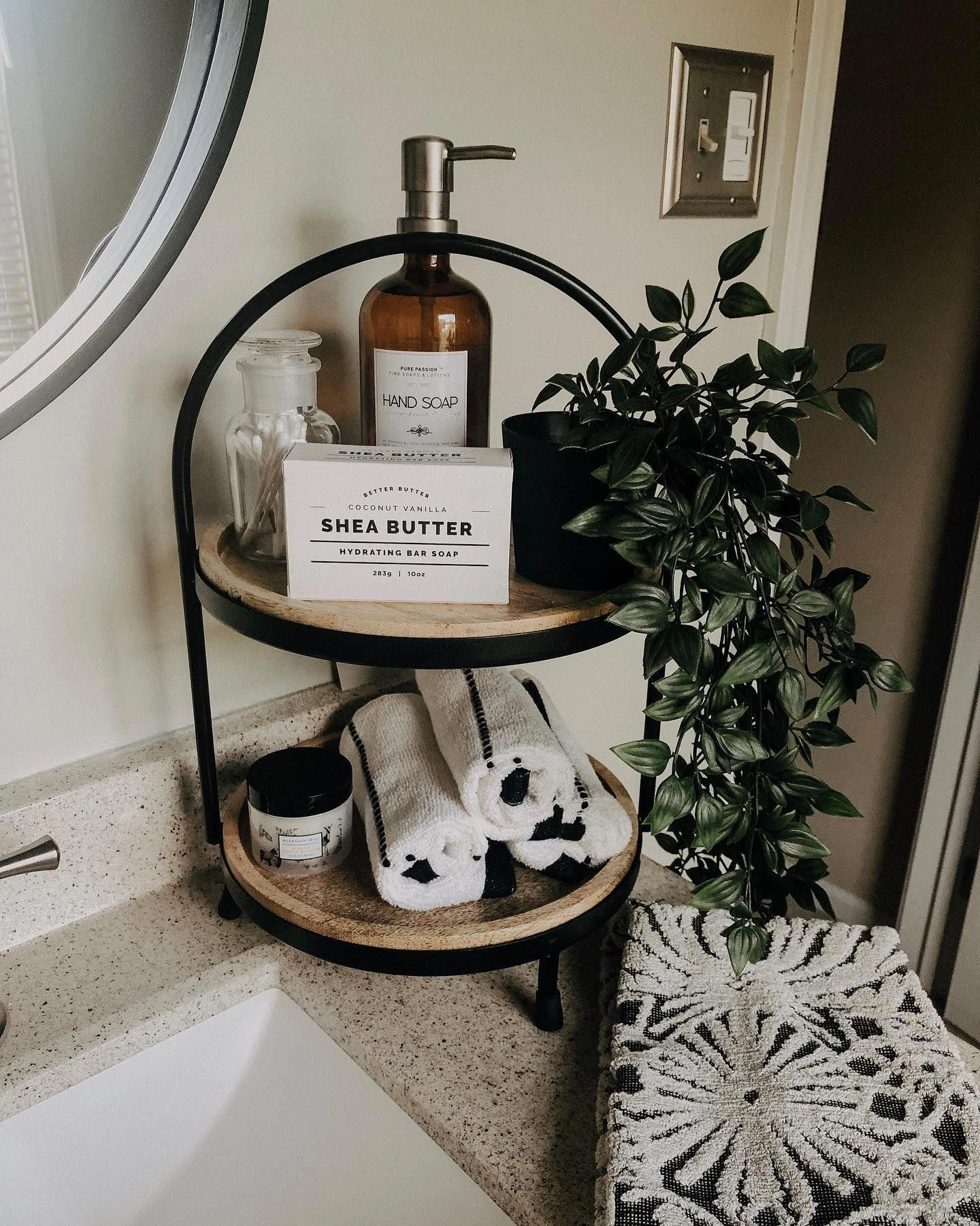 Photo of We love using 2-tier servers to display all of our bathroom essentials! ��…