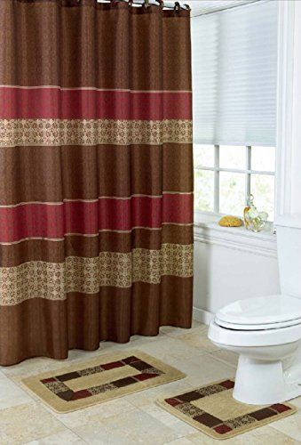 15 Piece Bath Set 2 Taupe Brown Burgundy Bathroom Mats 1 Matching Shower Curtain