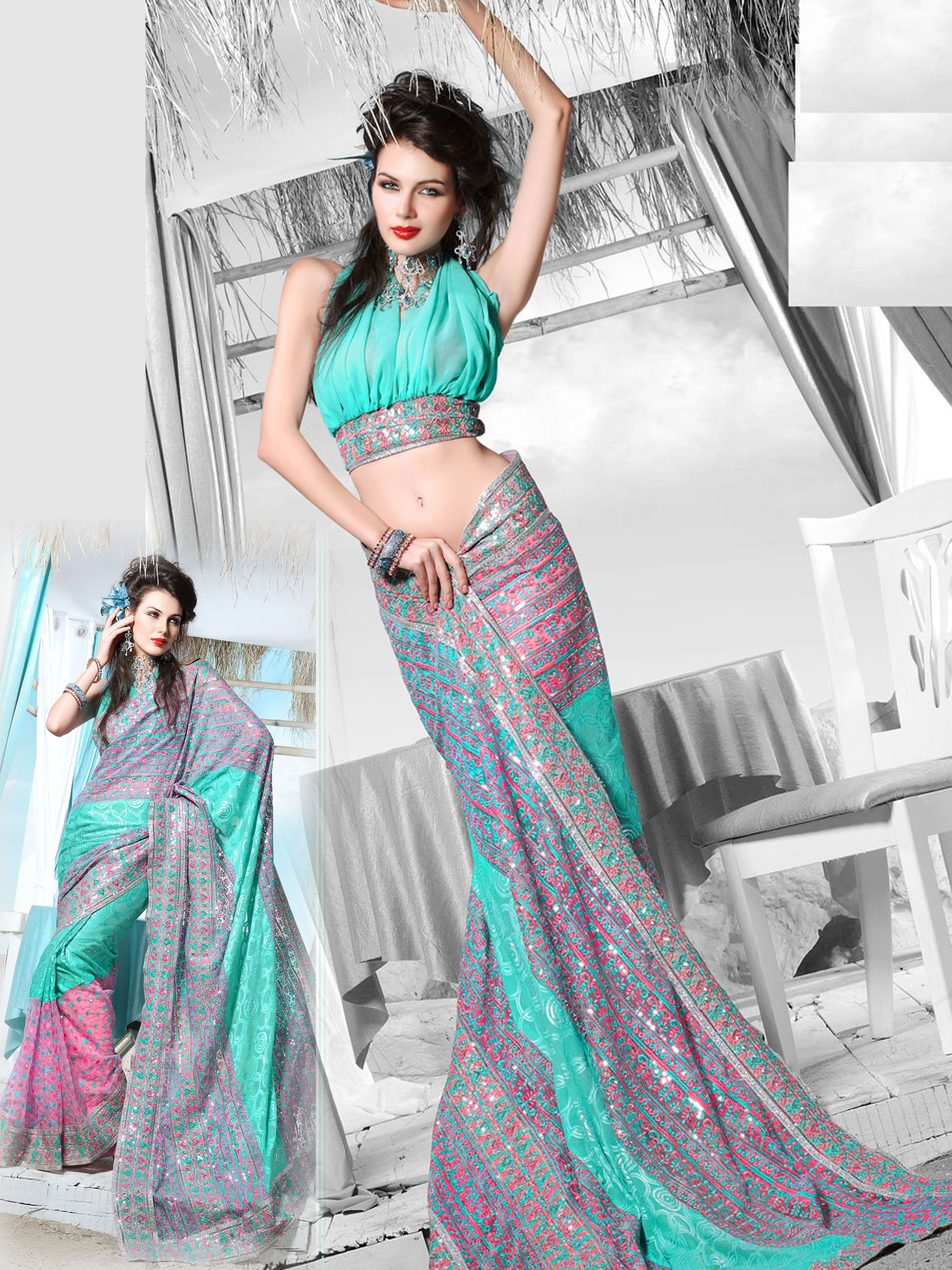 Light Blue Faux Saree with Blouse 77.78