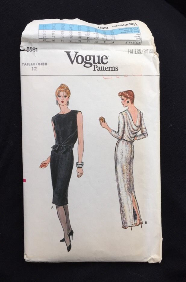 Vintage Vogue  Design Sewing Pattern No.8861 Cut Size 12 #VoguePatterns #eveninggown