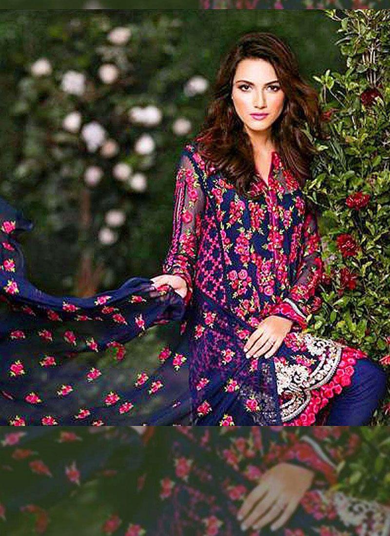 Shrewdly Blue Georgette Pakistani Churidar Suit | My Style - Desi ...