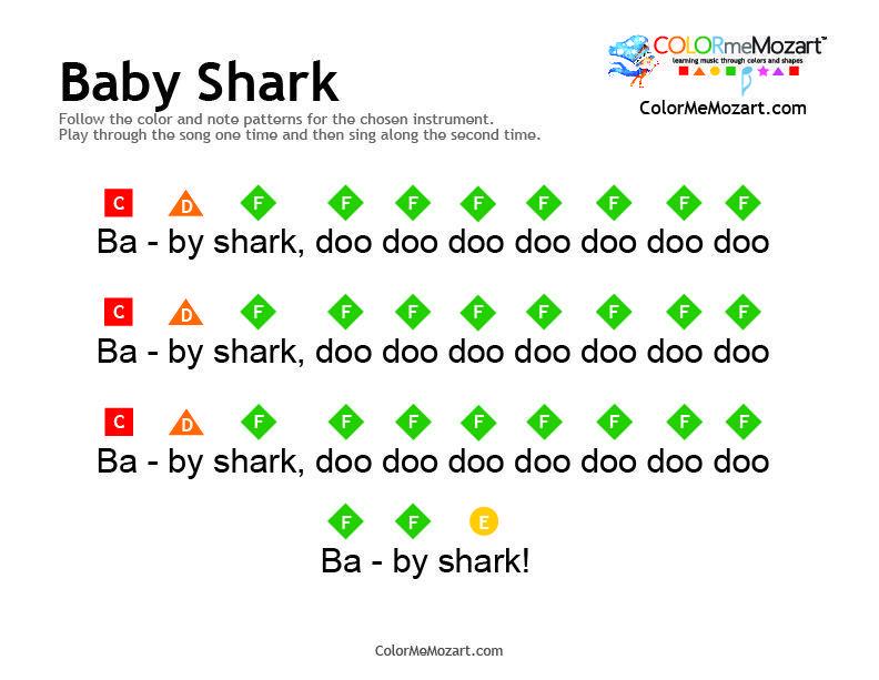 Baby Shark Piano Notes Pianomusic Baby Shark Piano And Xylophone