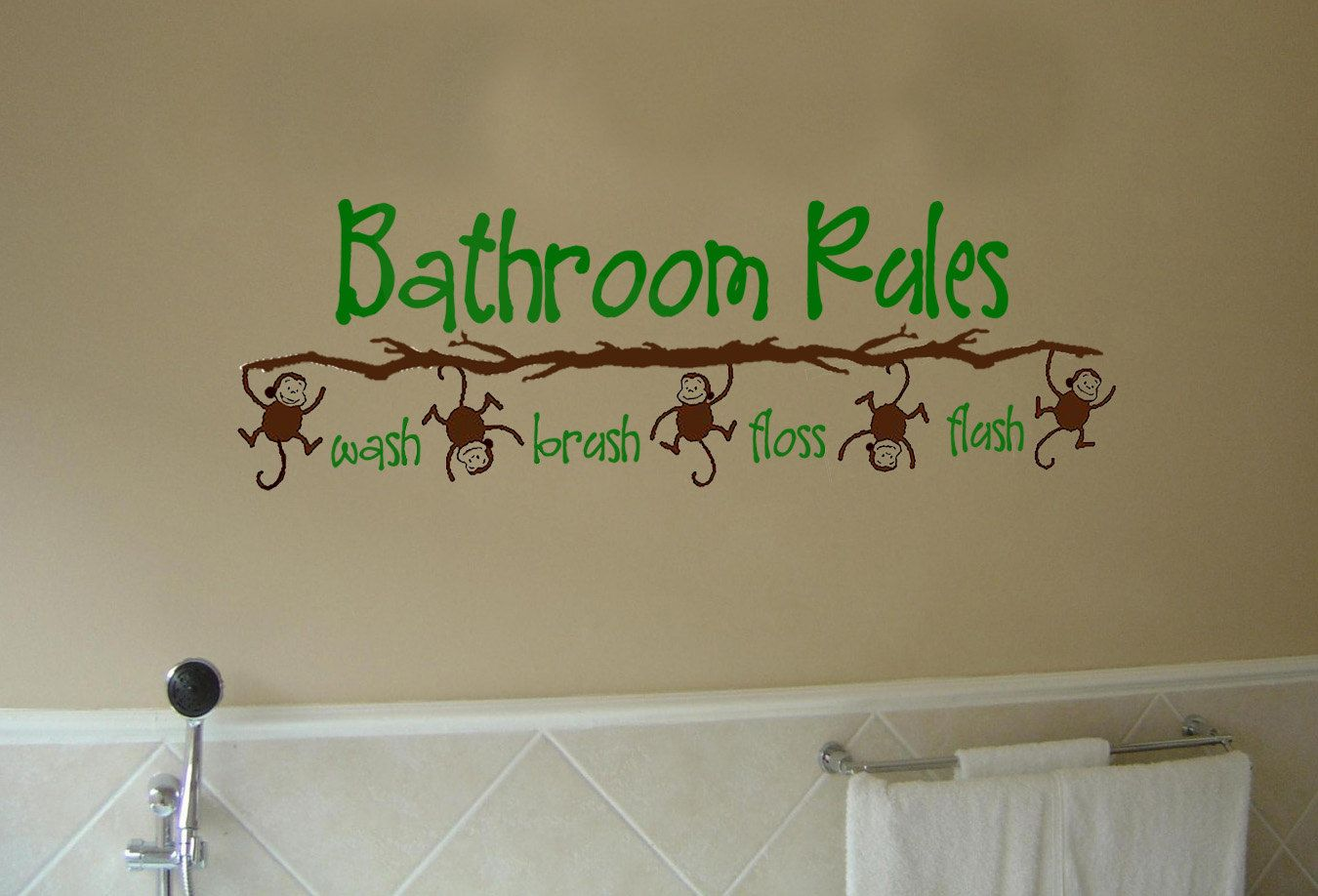Bathroom Rules Monkey Vinyl Wall Art Decal For Kid S Bathroom