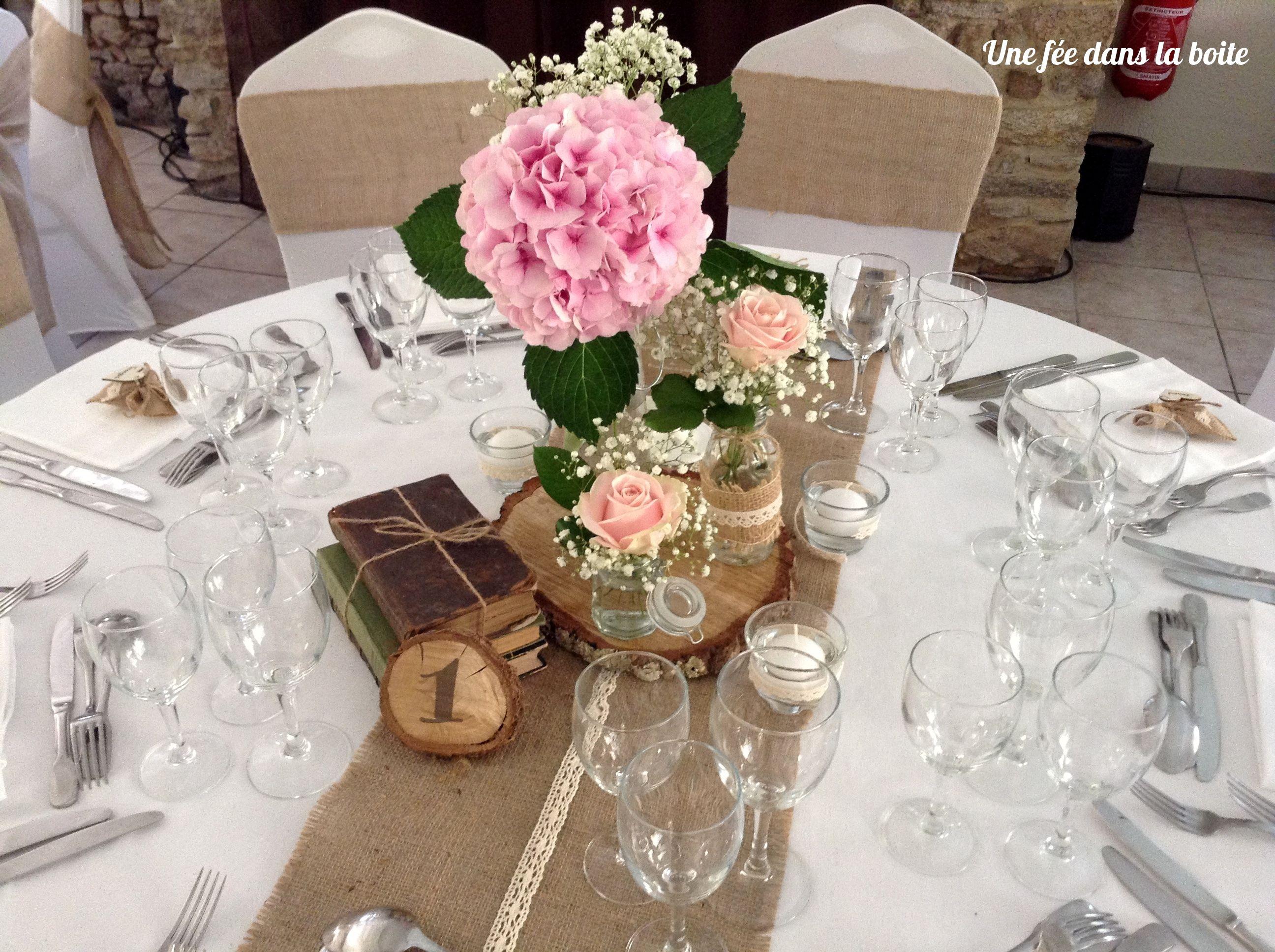 Cherche id e mariage champ tre romantique d coration - Rondin de bois centre de table ...