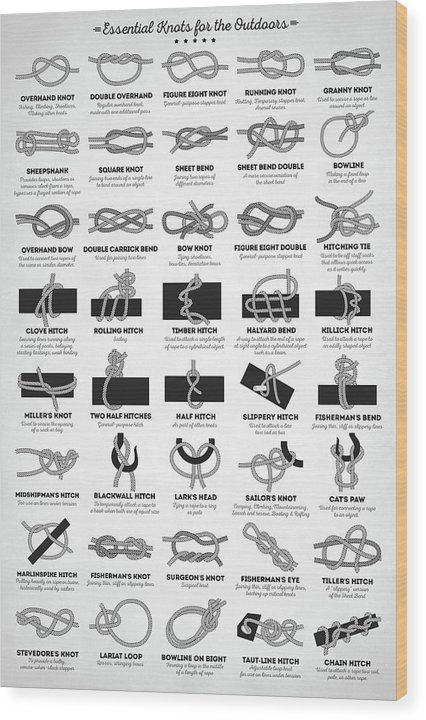 Essential Knots for the Outdoors Wood Print by Zap