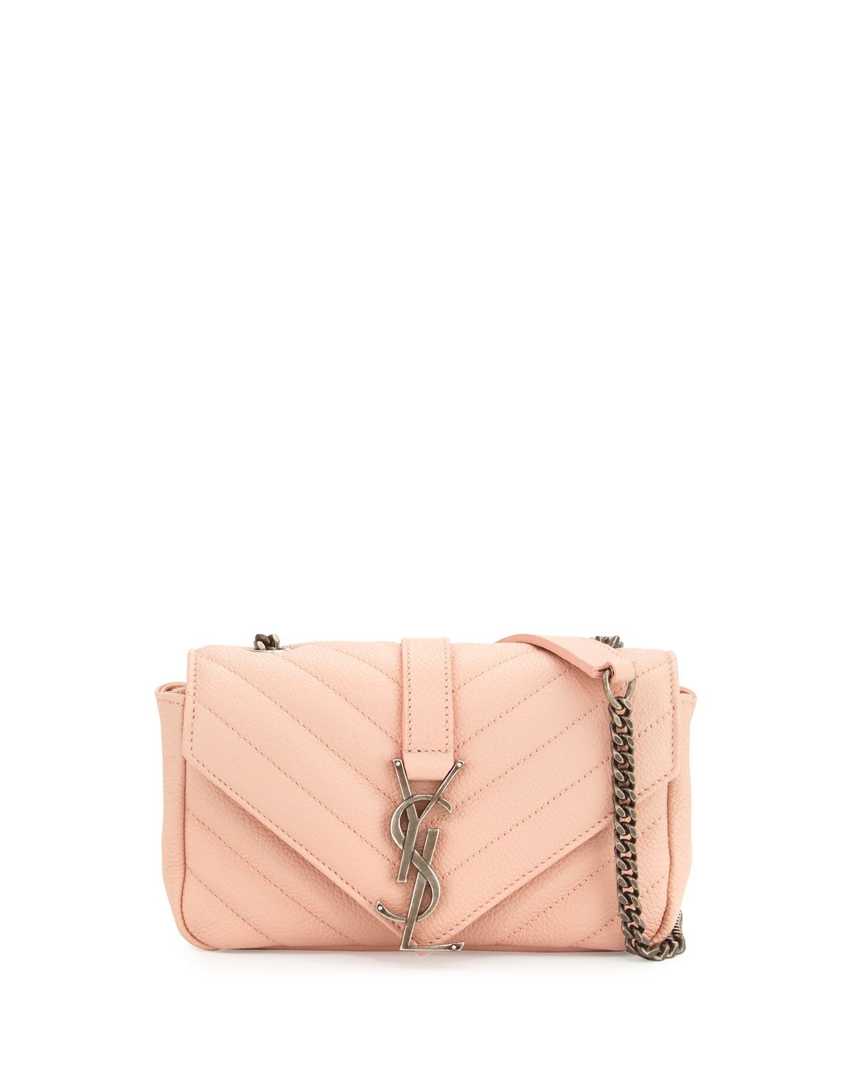 1f2f3eabaefd Yves Saint Laurent Monogram Baby Chain Crossbody Bag, Pale Pink ...