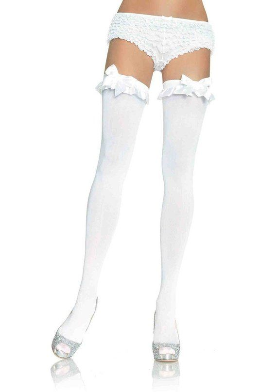 61f7afc611dd3 Sugarpuss THIGH HIGH STOCKINGS, Opaque, White, Satin Bows, Ruffle Trim,  Christmas, Anime, Cosplay, S