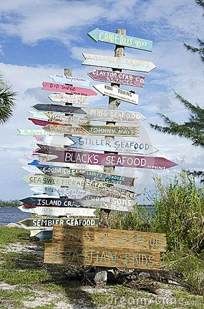 Signpost In Sebastian Florida Lists Local Businesses And Restaurants