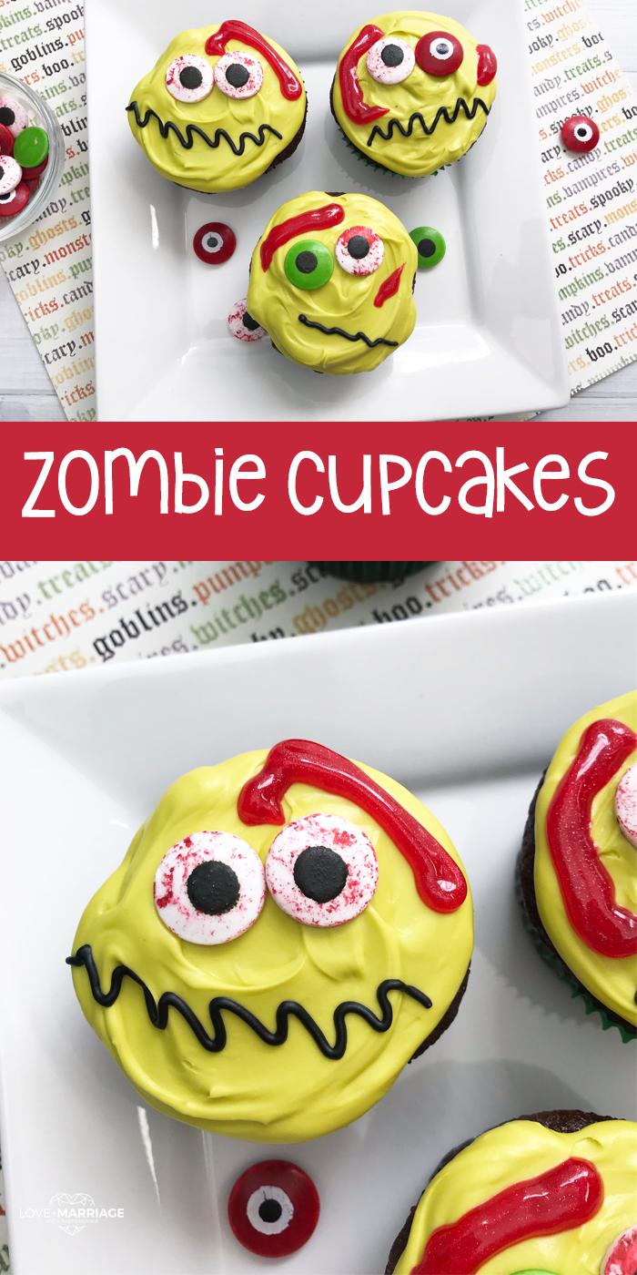 Easy Zombie Halloween Cupcakes