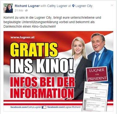 Kinogutschein für Lugner-Unterstützung könnte strafbar sein - Bundespräsident - derStandard.at › Inland