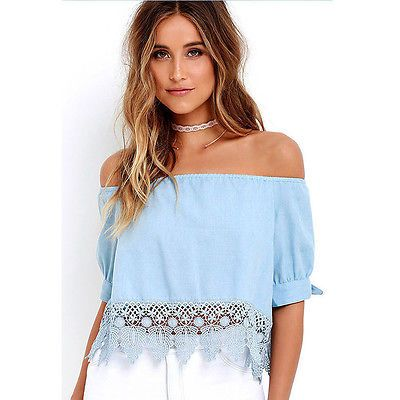 10e32498406c Damen Spitze Kurzarm Shirt Schulterfrei Bluse Cropped Top Hemd Oberteil Blau