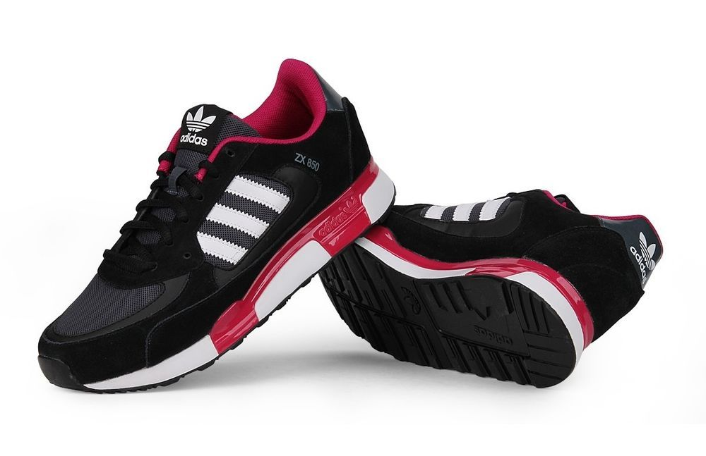 Womens Adidas Originals ZX 850 W Black Pink Leather Trainers