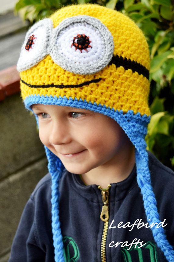 Cappelli all uncinetto Minion bambini cappello cappello del 4eee0ea431fb