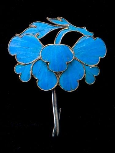 19th Century Chinese Tian Tsui Kingfisher Wing Floral Hair Pin C