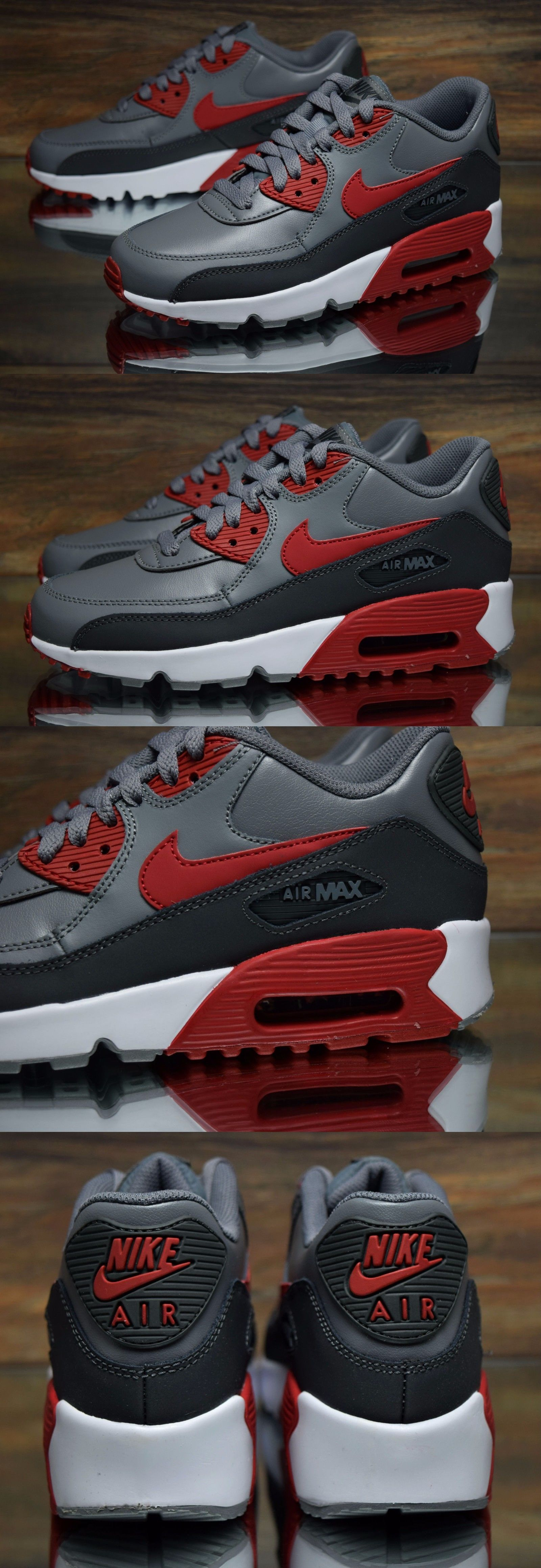Boys Shoes 57929: Nike Air Max 90 Ltr (Gs) Grey Red 833412-