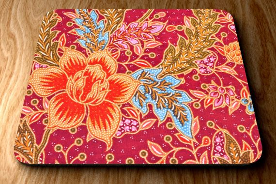 Mouse Pad Thai Weave Fabric Flowers Print Floral by clippycabin