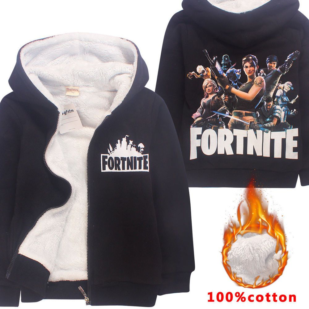 045f99e5a 2018 Boys Girls Cartoon  Fortnite Autumn Winter Fleece Hooded Jacket ...