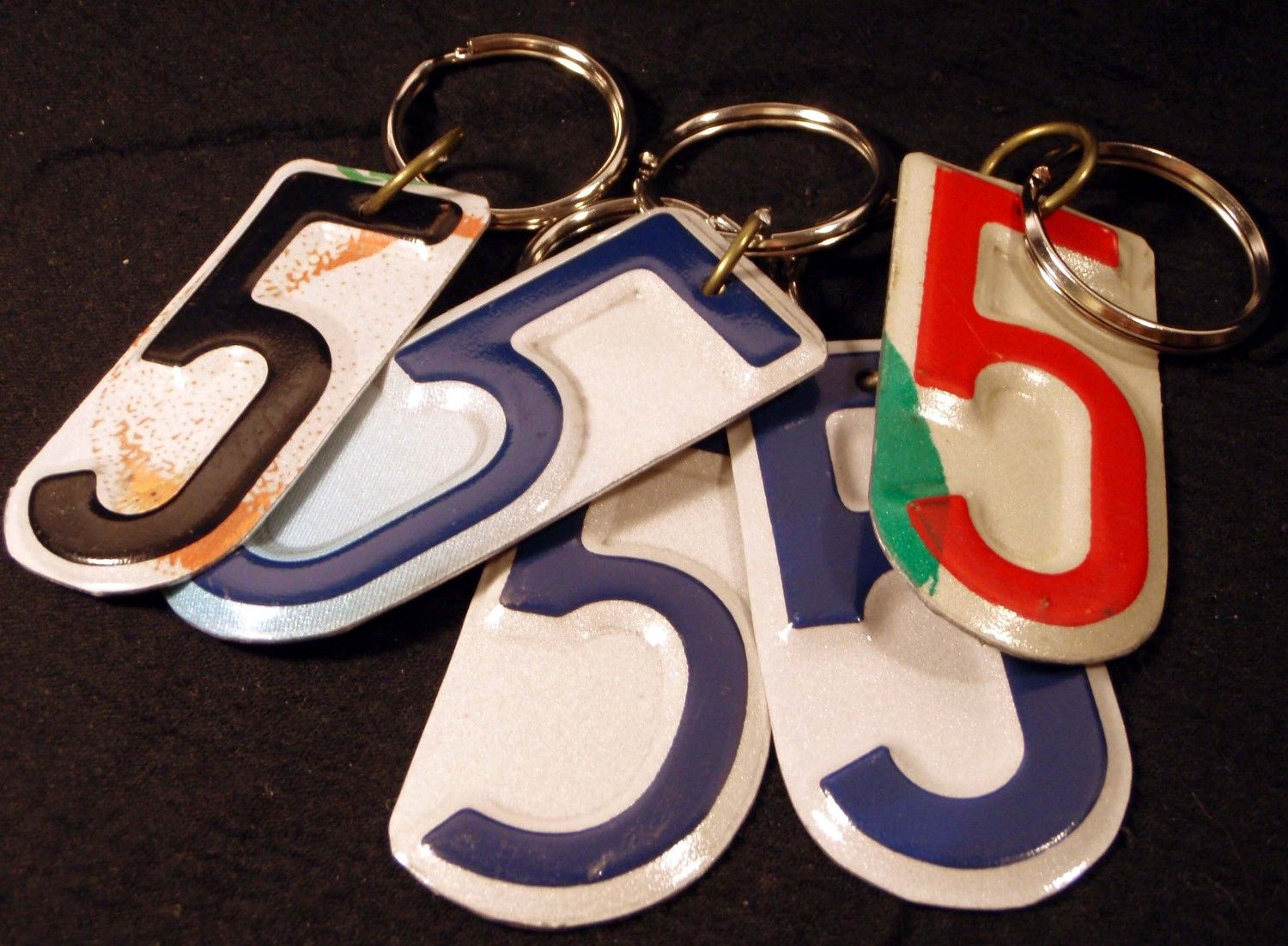 Five License Plate Number 5 Key Chain   5 95  Via Etsy