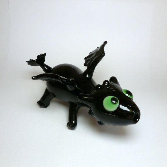 Handmade Toothless Night Fury Dragon Sculptural Art by LeoStudios