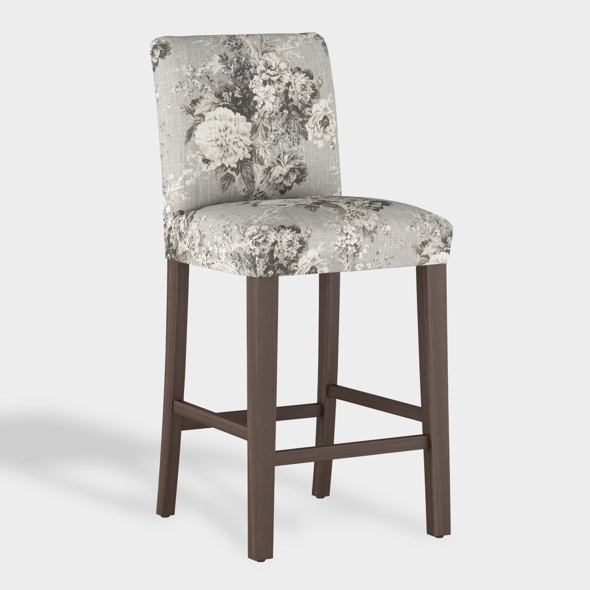 Cool Gray Floral Kerri Upholstered Barstool By World Market Beatyapartments Chair Design Images Beatyapartmentscom