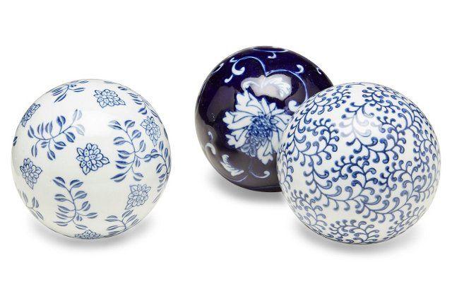 Asst. of 3 Floral Orbs, Blue/White