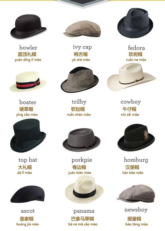 types of hats translated into mandarin language chinese