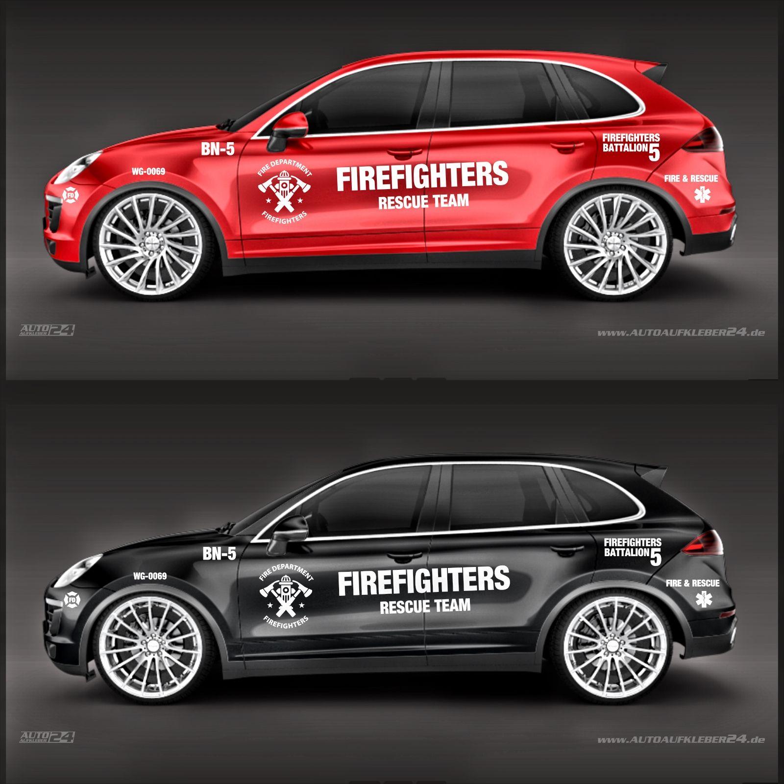 Autoaufkleber Firefighter Design Aufkleber Set Lieferbar In