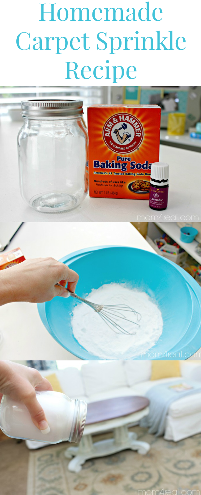 Make Your Own Deodorizing Carpet Powder Mom 4 Real Baking Soda On Carpet Carpet Odors Homemade Cleaning Products