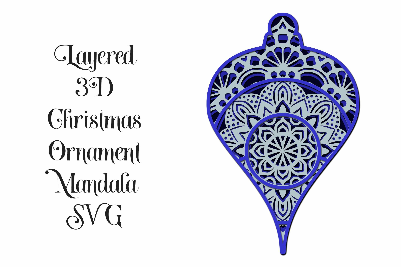 Download Mandala Christmas Ornament 3D Layered SVG in 2020 ...