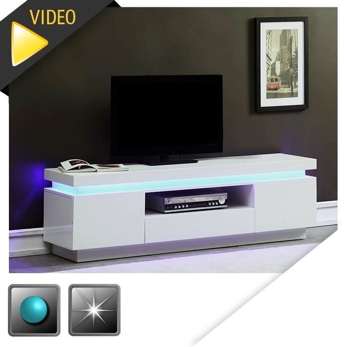 Meuble TV blanc brillant avec LED bleue - Dimensions : 165 x 40 x ...