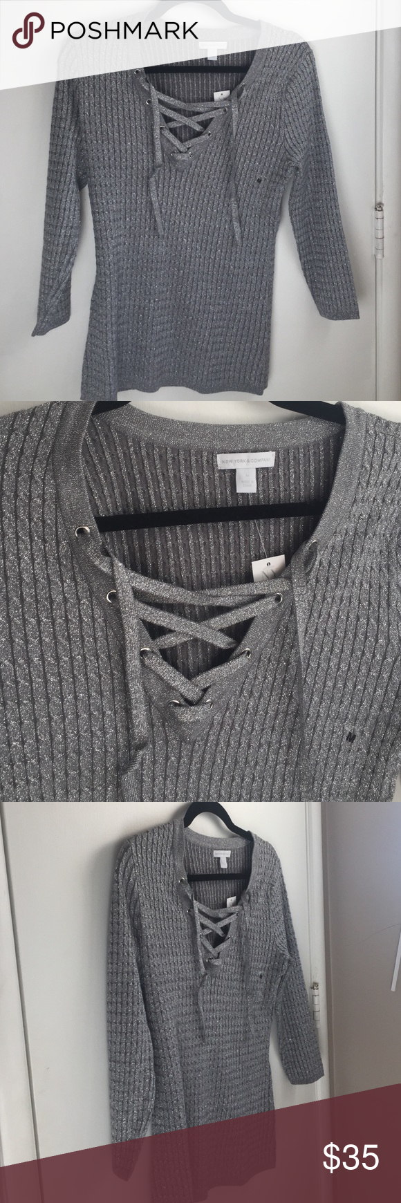 Grey/silver lace up sweater NWT | Gray, Customer support and Delivery