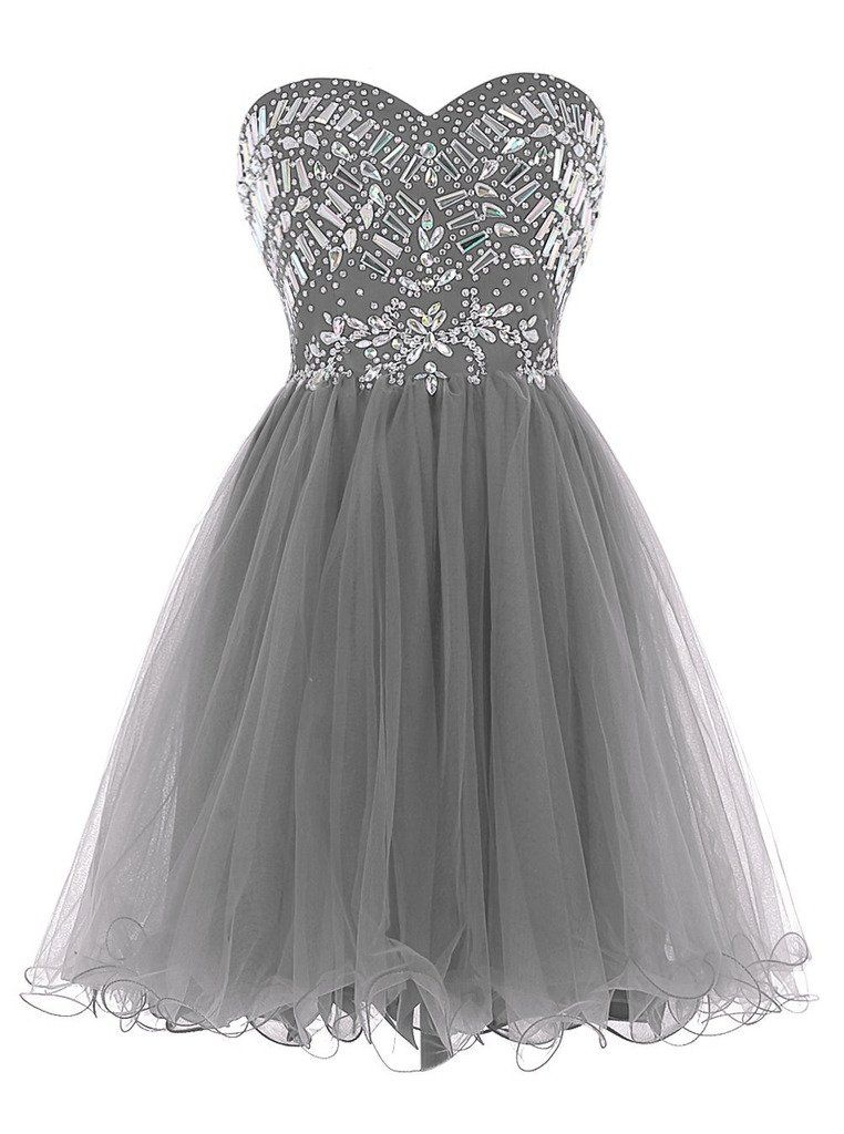 715ee41965 Sisjuly Women s Short Beaded Sweetheart Neck Tulle Christmas Dress Size 14  Grey