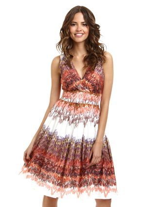 ARYEH Sleeveless Fit-and-Flare Dress with Double V-Neck
