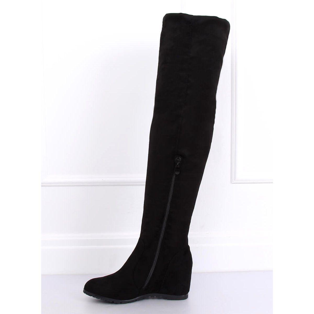 Muszkieterki Na Koturnie Czarne Pe108 Black Over Knee Boot Shoes Boots