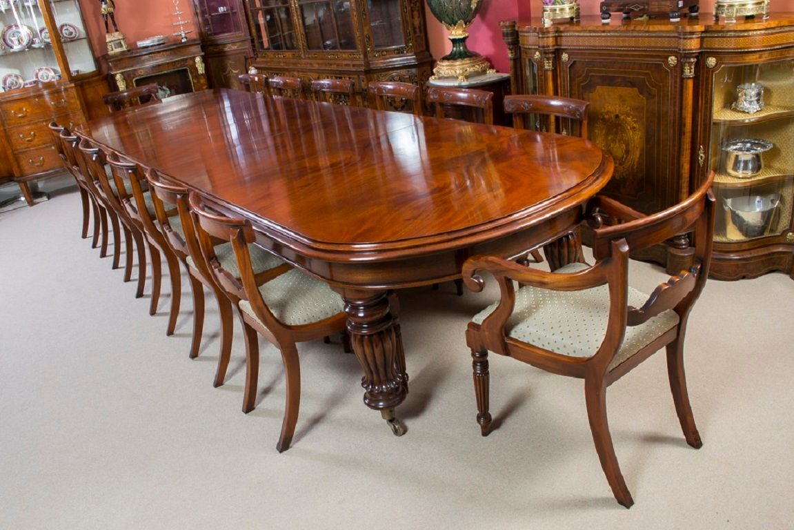 Vintage Victorian Mahogany Dining Table With 14 Chairs Mahogany Dining Table Dining Room Victorian Dining Room Furniture Sets