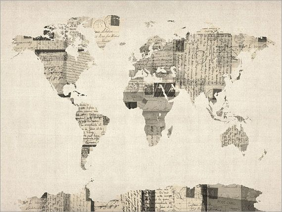 A map of the world made art print from a collage of old postcards michael tompsett vintage postcard world map gallery wrapped canvas gumiabroncs Images