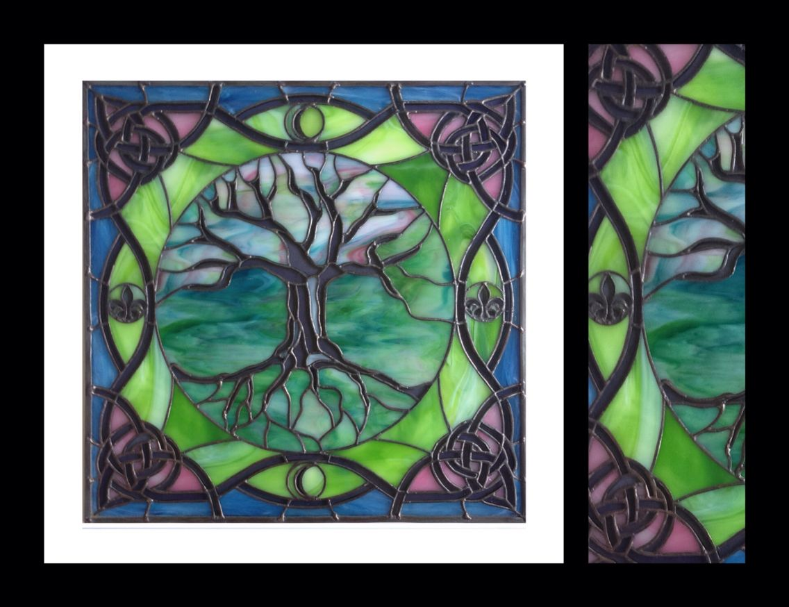 Tree Of Life With Celtic French Ornaments 16 X16 Custom Stained Glass Panel By Smash Glassworks Celtic Stained Glass Stained Glass Panels Stained Glass