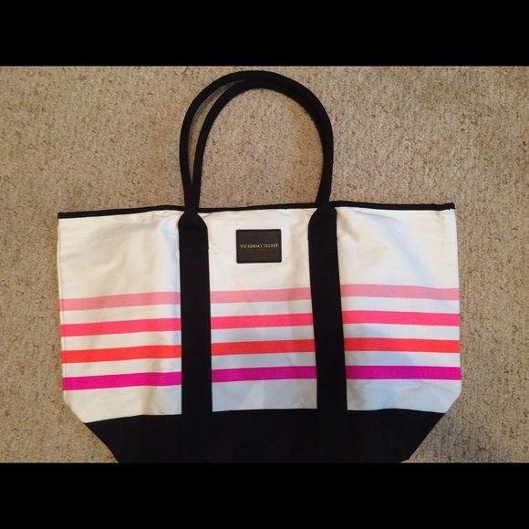 Victoria's Secret bag Large Victoria's Secret bag, neon stripes, never used. Victoria's Secret Bags