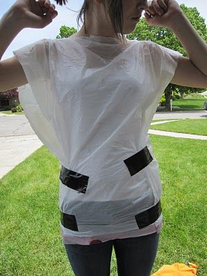 Duct tape dress form. Use a garbage bag instead of an old t-shirt.