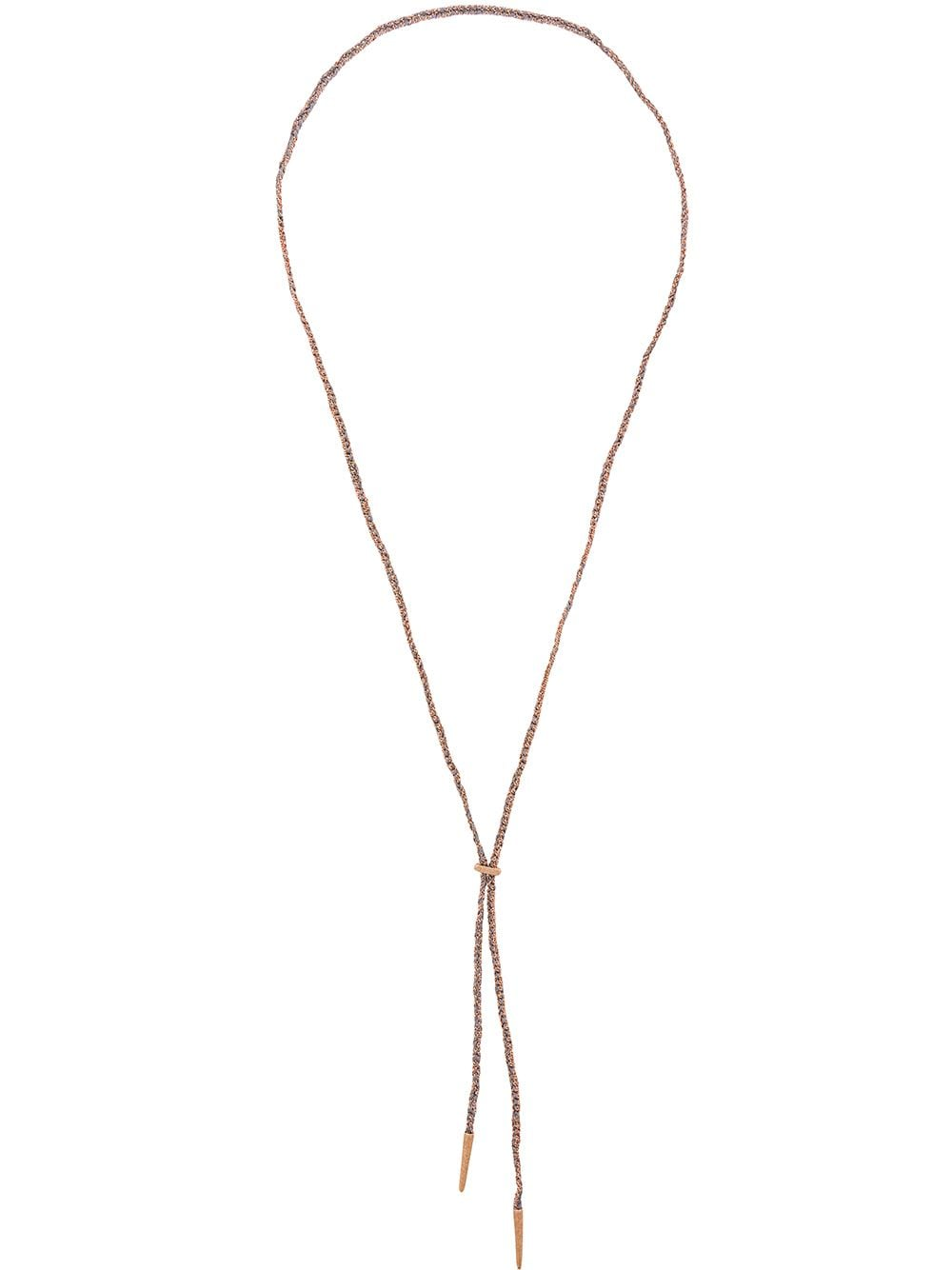 Carolina Bucci Sparkly Lucky Lariat Necklace is part of Lariat necklace, Lariat, Necklace, Fine jewelry, 18kt gold, Gold silk -  Permanent CollectionCarolina BucciSparkly Lucky lariat necklace18kt rose gold Sparkly Lucky lariat necklace from Carolina Bucci featuring a long length  Part of her Lucky Collection inspired by the friendship bracelets of her childhood, Carolina Bucci's Lucky lariat features her signature Florentine finish rose gold  Necklace measures approximately 95cm with a 18kt gold clip which allows the wearer to adjust the length Made in Italy  Composition18kt Rose Gold 100%, Silk 100%Designer Style ID CB90768